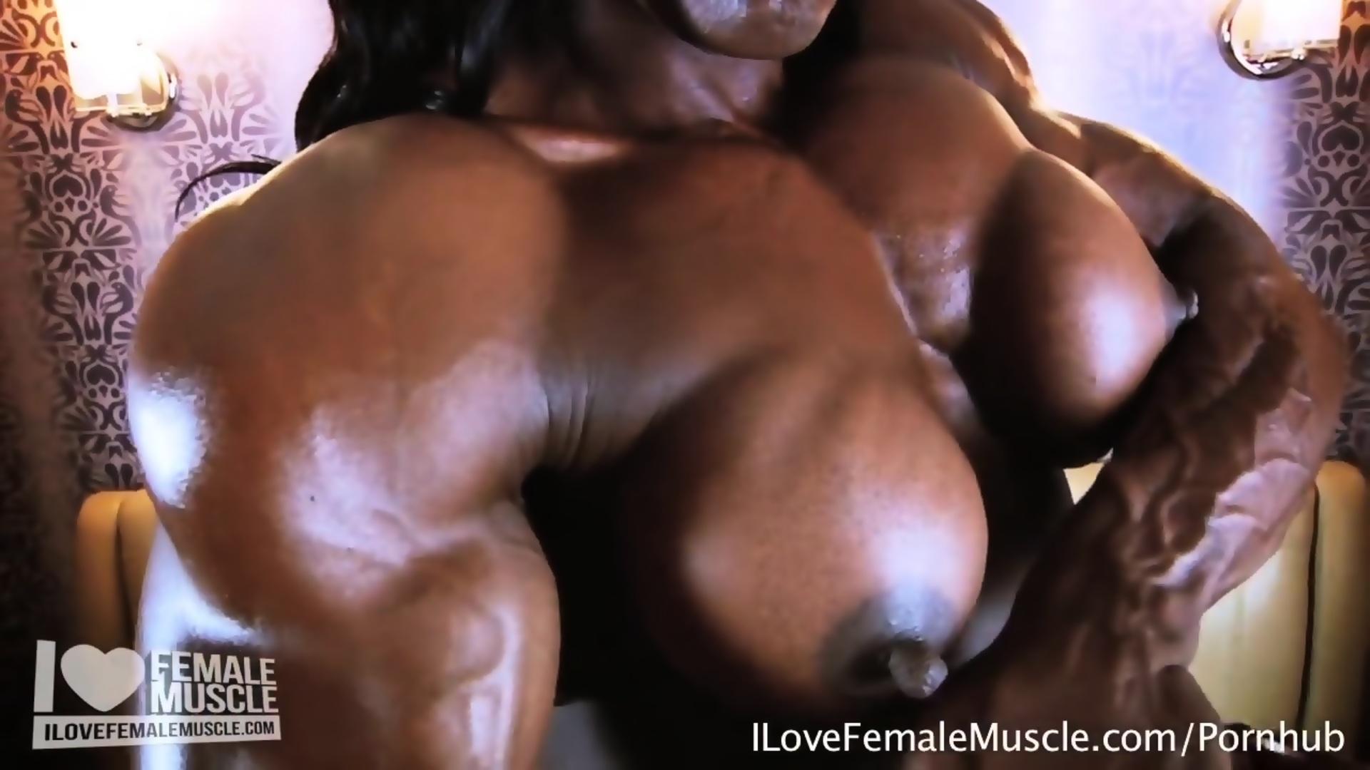 Massive muscle dominatrix mistress treasure nude flexing