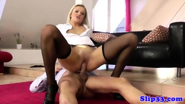 Blonde euro babe fucks old mans cock