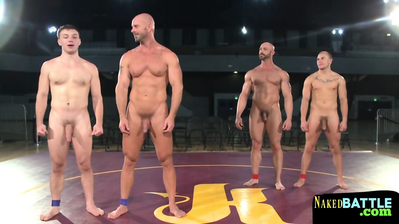 Musc.ly Porn muscly studs wrestling in front of audience