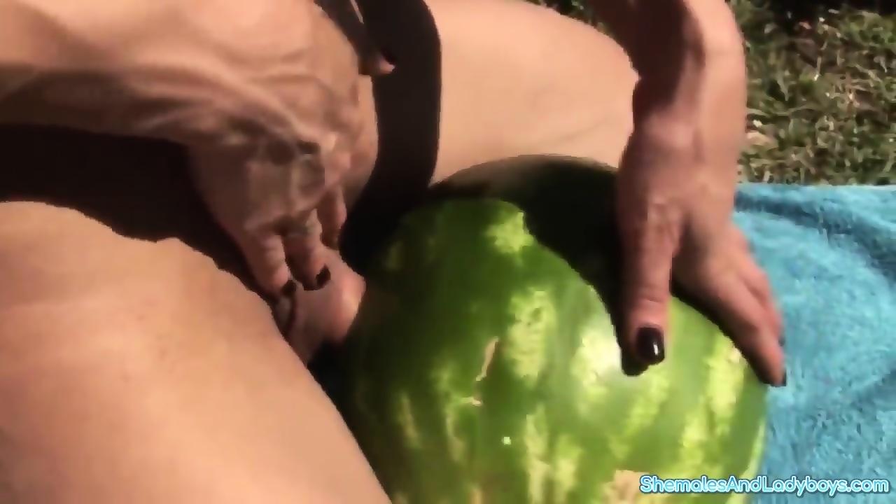 Shemale fucks watermelon