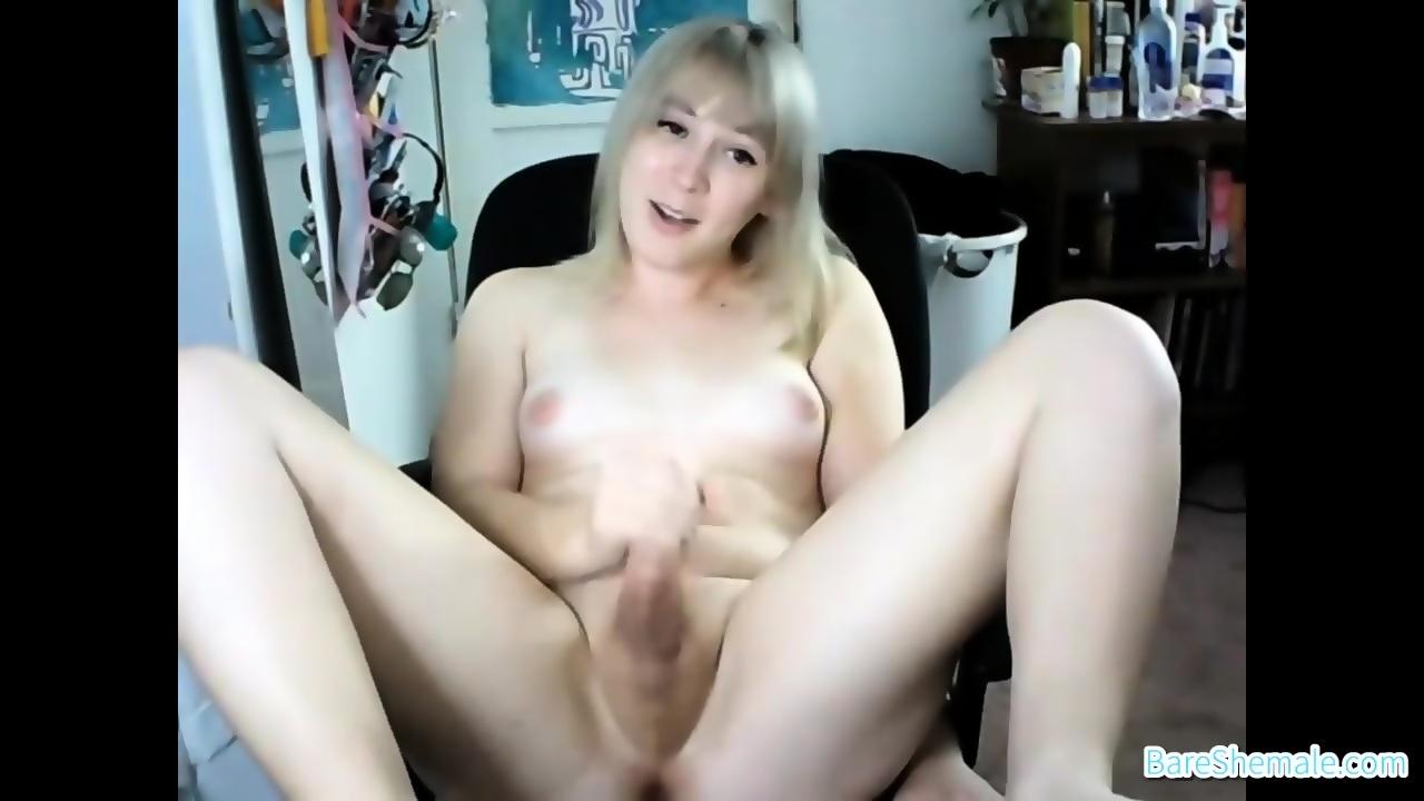 Cute Teen Shemale Masturbating