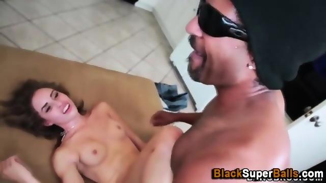 Tiny hoe rides black cock