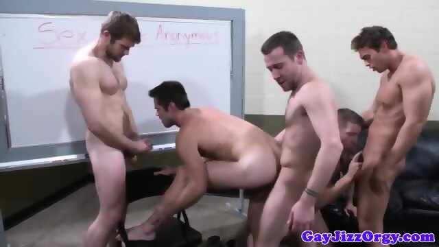Muscled sex addicted hunks loving orgy