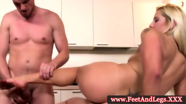 image Candy love rubs him with her feet