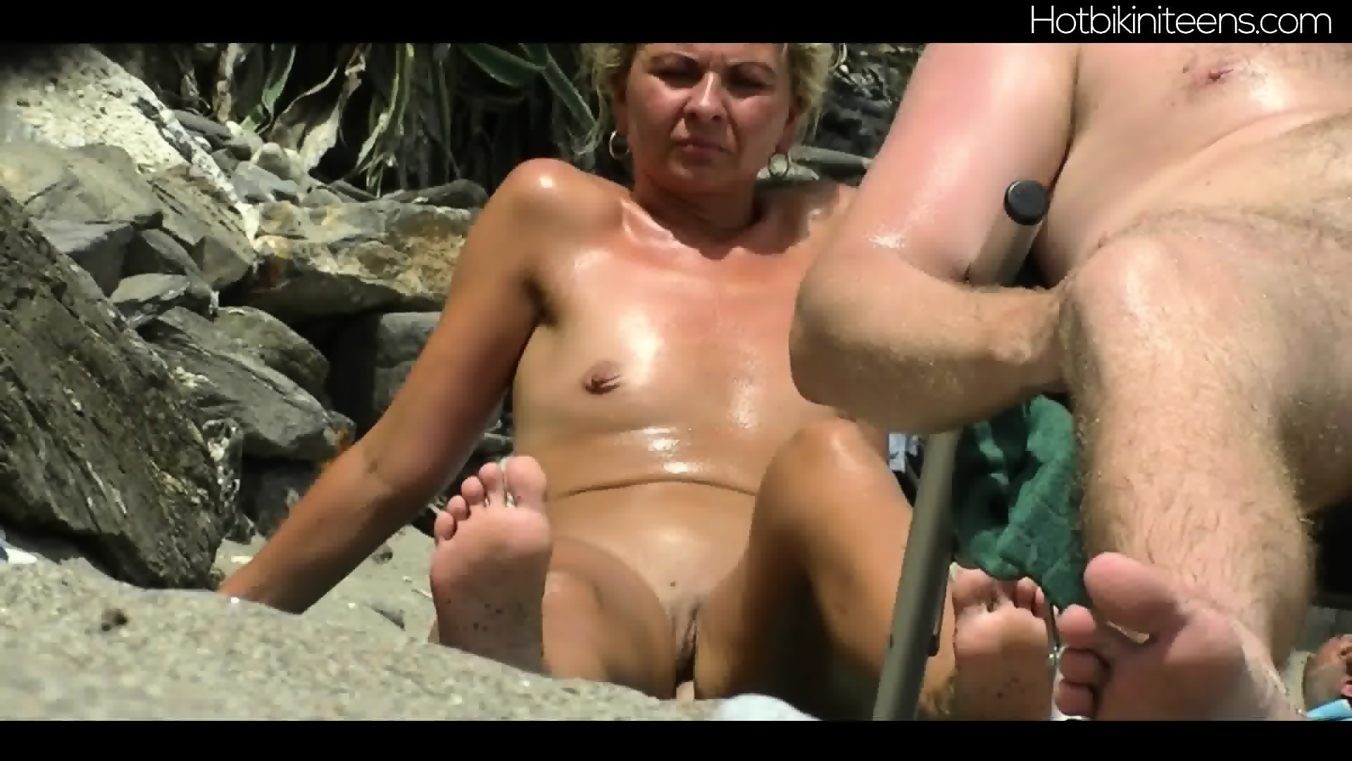 shaved pussy nudist milfs at beach - eporner