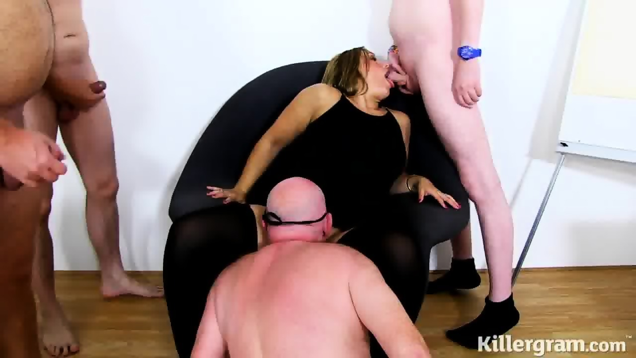 Gangbang black blonde white office