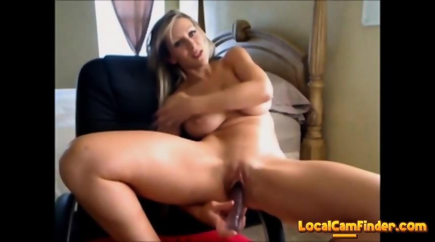 Webcam Blonde Sucking Dildo