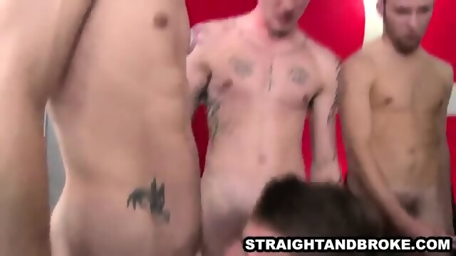 Straight guy sucking on a hard cock for cash