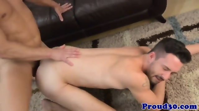 Gay studs butt fucking in bed