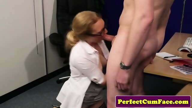 image British femdoms cocksucking sub in group