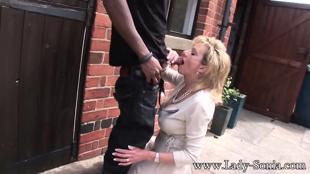 mature lady rides black cock on the pavement - eporner