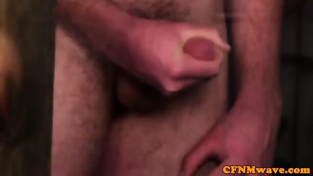 Busty british voyeur humiliates tugging guy 6