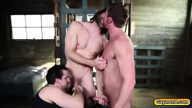 Gay threesome asslicked while fucking