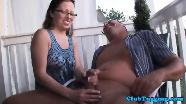 Blonde Milf Mature Tugging Cock