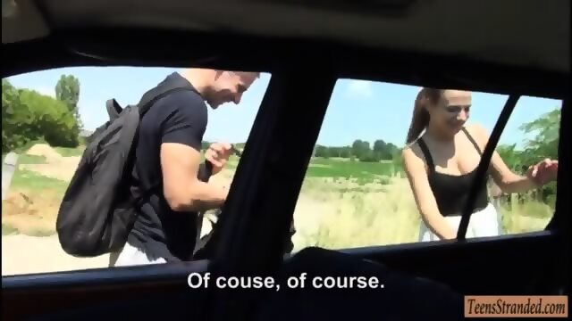 Horny couple having sex in the backseat