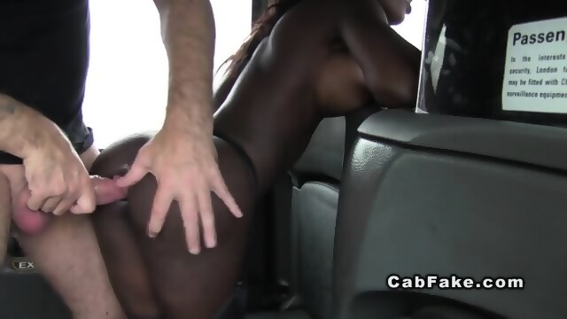 image Faketaxi threesome action in london cab