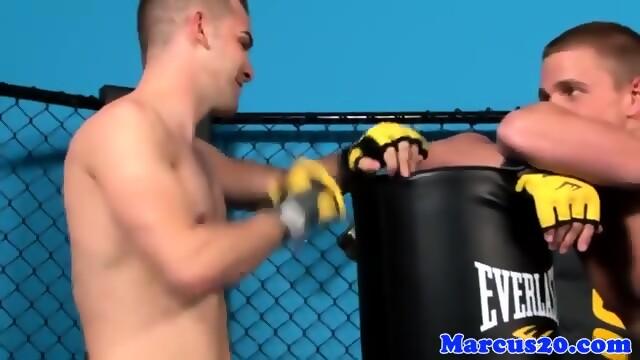 Muscular gay mma jocks fucking in the octagon