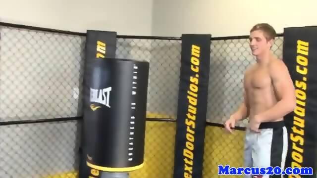 Tattooed jock spitroasted by athletic studs