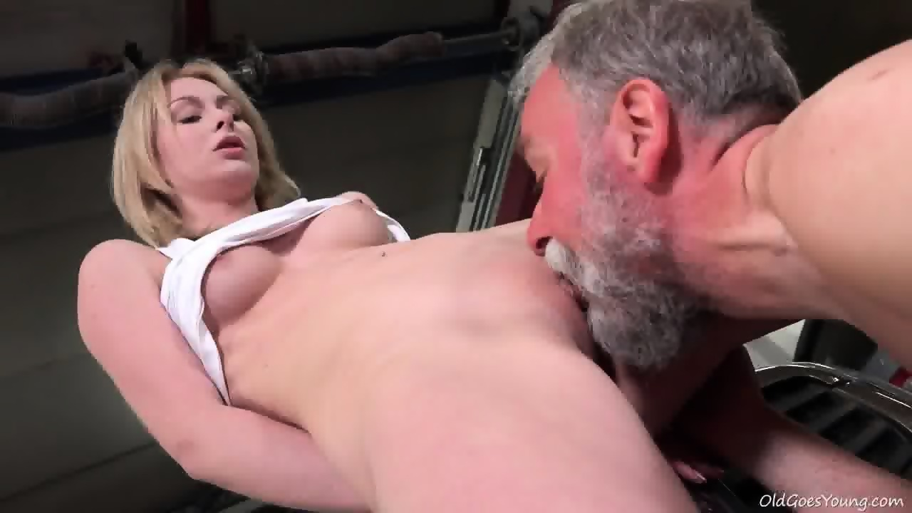 Young Blonde Rides Old Guy's Dick In Garage - scene 6