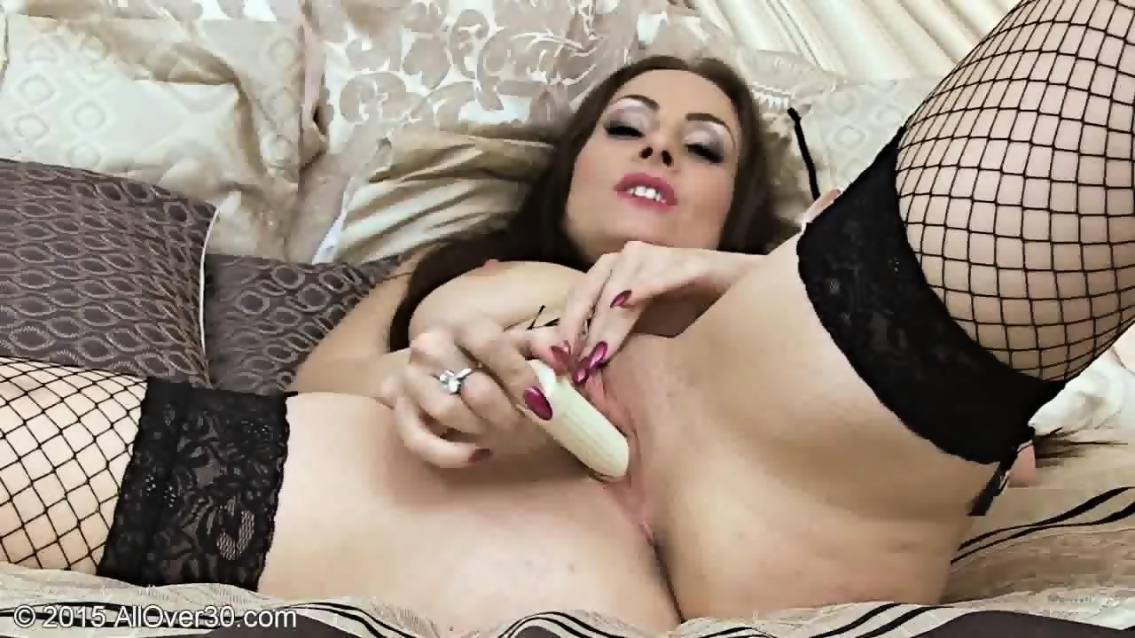 Alluring babe sucking dildo and masturbate ha 8