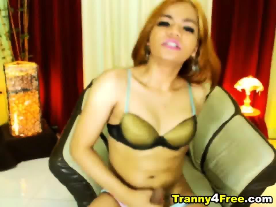 Sexy Tranny Masturbates Her Hard Cock