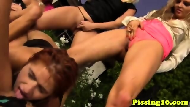 Pissing euro lezzies soaked at pissing party 5