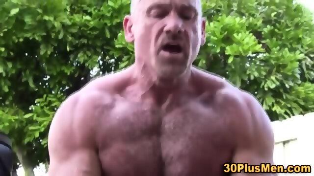 Muscly bear rams arsehole