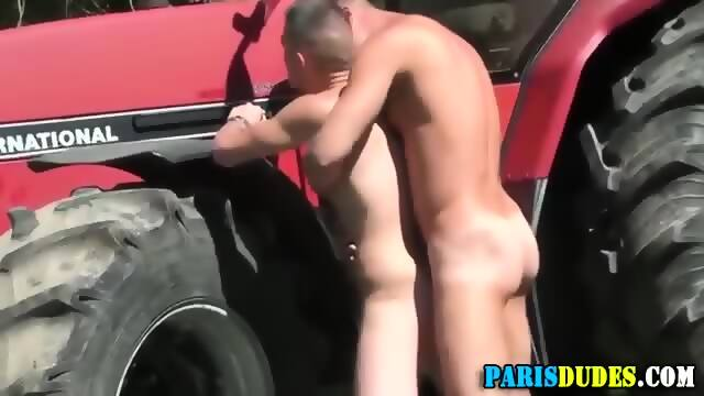 Oiled massage ends in bareback pounding
