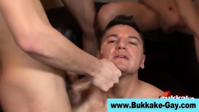 Interracial group bukkake