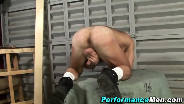 Manly bear catches cum