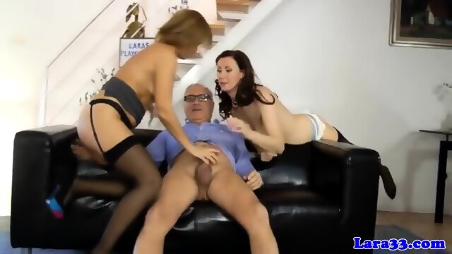 2 matures share his cum