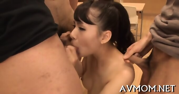 Asian milf loves sucking balls