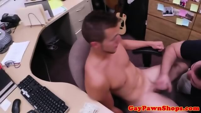 Straight hunk sucking on two cocks for some money