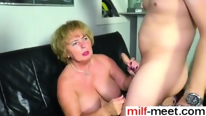 German grandma seduce grandson to first fuck
