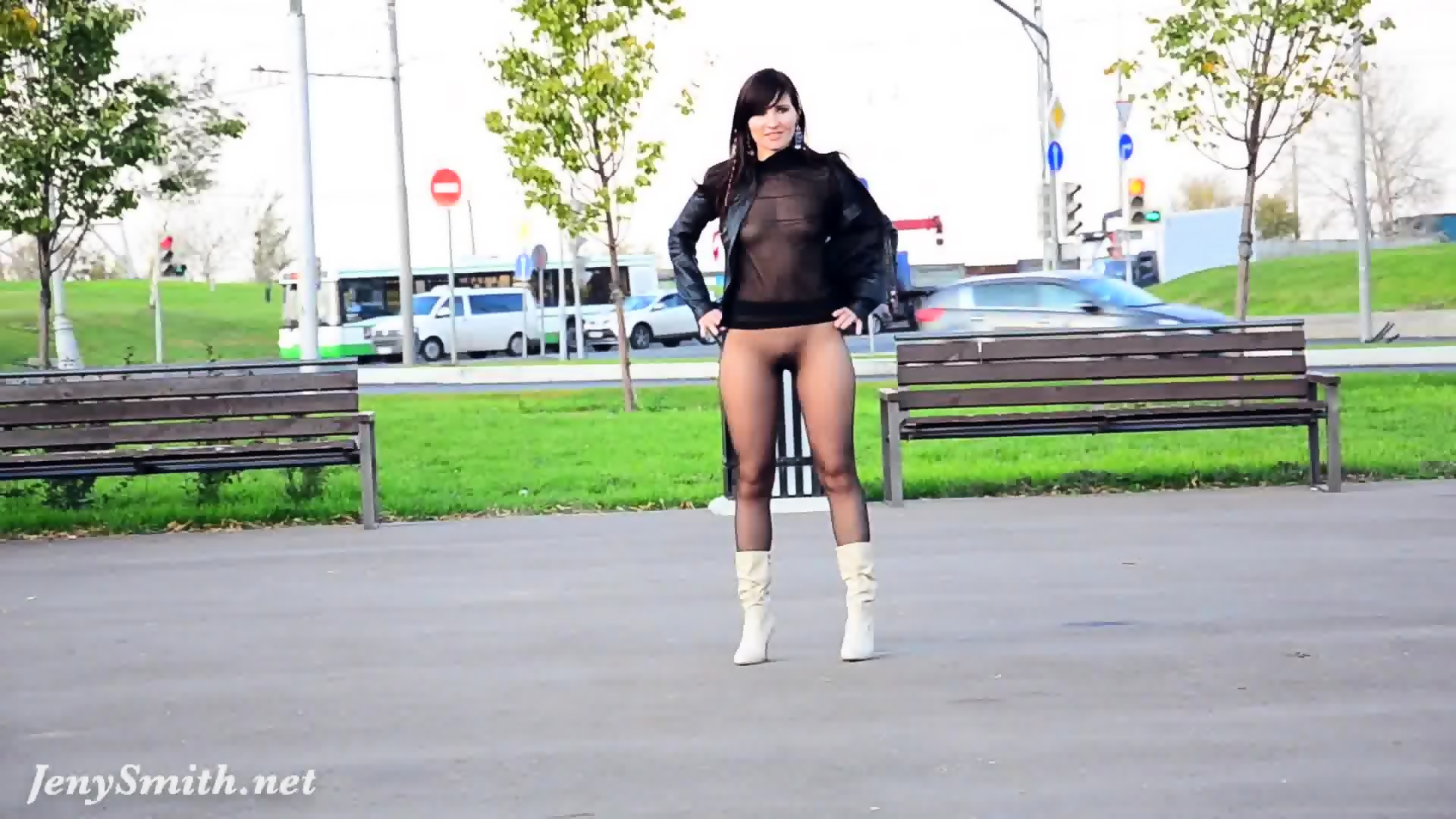 Jeny smith pantyhose suit in public 5