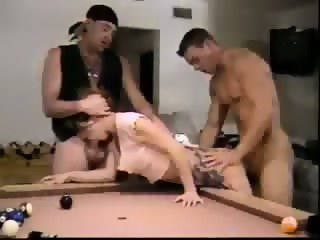 Double penetration on pool table in the bar