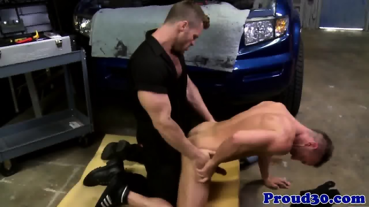 Athletic hunk bent over and doggystyled