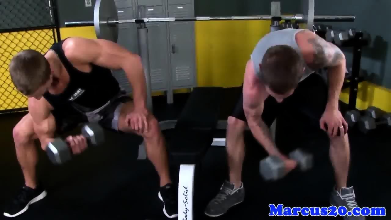Rimmed Hunk Deepthroats Hard Cock At The Gym